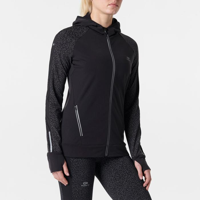 CHAQUETA JOGGING MUJER RUN WARM NIGHT NEGRO ESTAMPADO