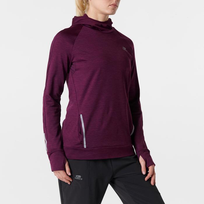 Langarmshirt Run Warm Hood Damen bordeaux