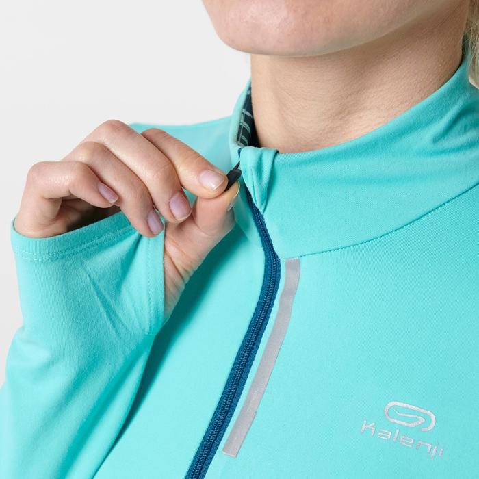 Loopshirt met lange mouwen Run Dry+ voor dames, met rits, lichtgroen