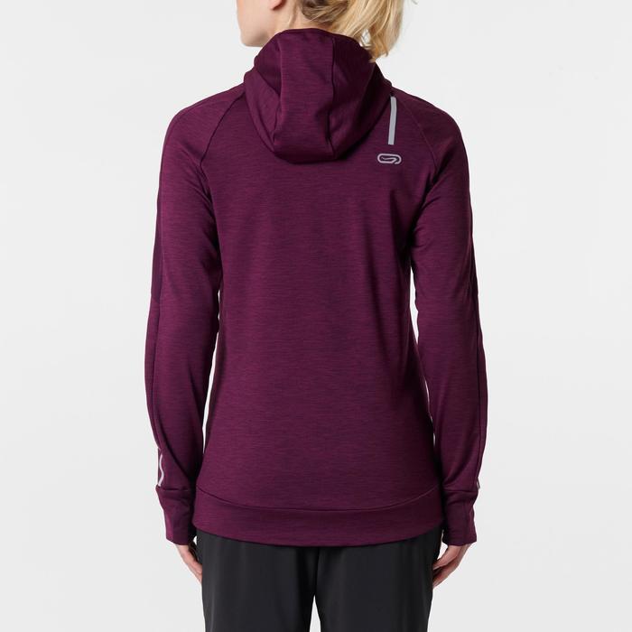 女款跑步長袖連帽T恤RUN WARM - 暗紅色