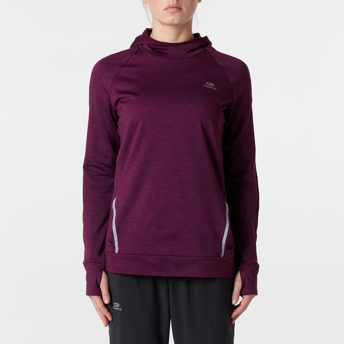 Hoodie met lange mouwen jogging dames Run Warm bordeauxrood
