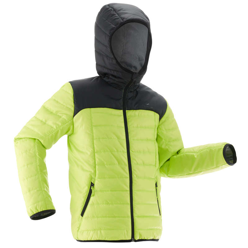 CHILDREN MOUNTAIN HIKING FLEECES, SOFT Hiking - MH500 PADDED JACKET - GREEN QUECHUA - Hiking Jackets