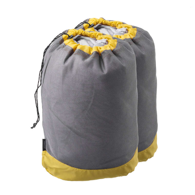 BACKPACK ACC, ORGANIZER, SECURITY ACC MT Hiking - Set of Two Ventilated Hiking Storage Bags - Grey FORCLAZ - Hiking Backpacks and Bags