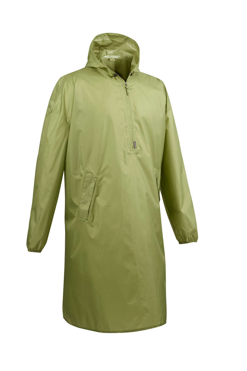 PONCHOS HIKING/TREK Hiking - Arpenaz 40 Litre Waterproof Poncho S/M - Green FORCLAZ - Hiking Clothes