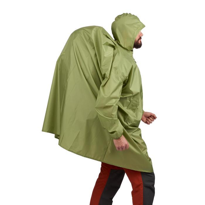 Regenponcho voor bergtrekking Arpenaz 40 liter maat XS groen
