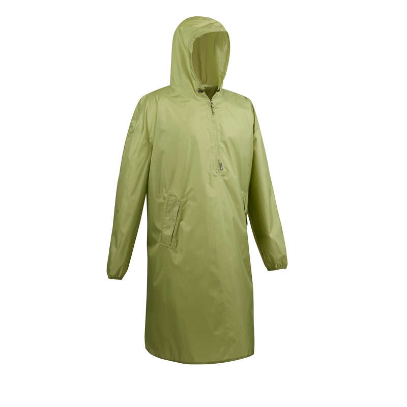 PONCHOS HIKING/TREK Hiking - Arpenaz 40 Litre Waterproof Poncho L/XL- Green FORCLAZ - Hiking Jackets