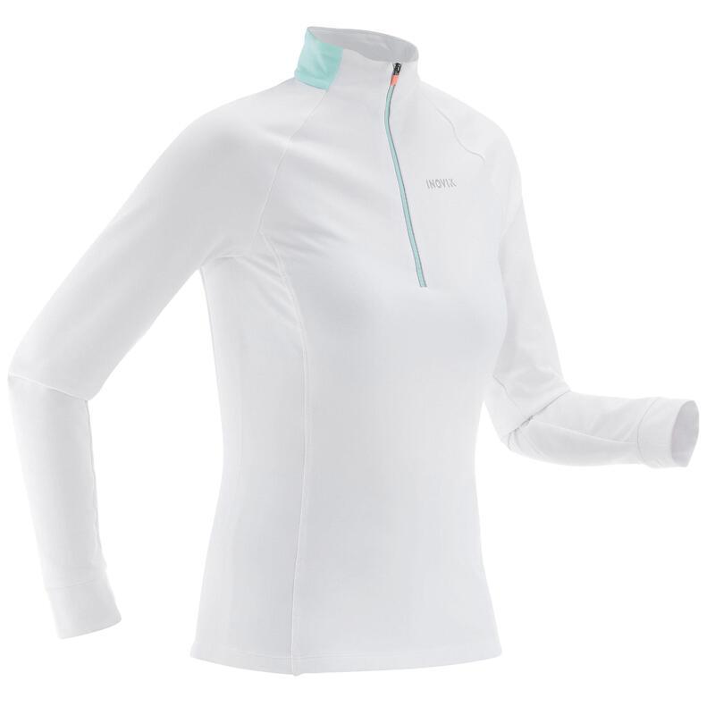 T-shirt ski de fond manches longues chaud 1/2 zip Femme XC S 100 - blanc