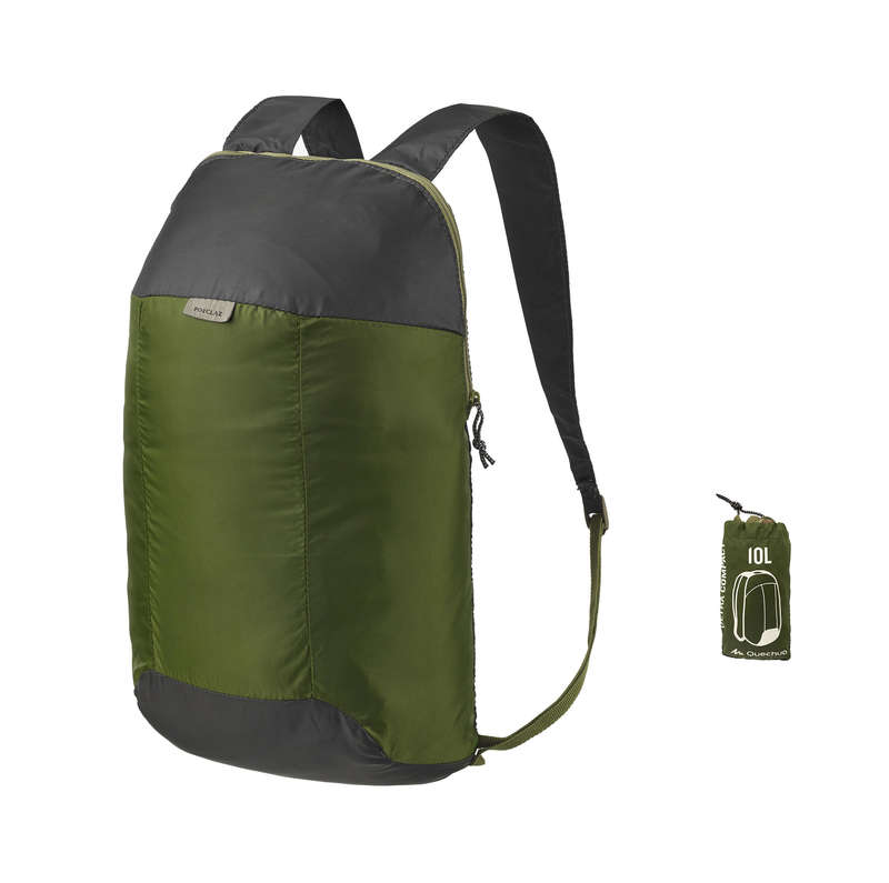 COMPACT BACKPACKS TRAVEL ACC TRAVEL TREK - Ultra-Compact Hiking Backpack 10L - Dark Green FORCLAZ