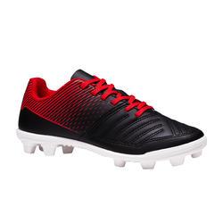 Chaussure de football enfant terrains secs Agility 100 FG noire blanche