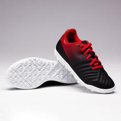 Botas de fútbol júnior terrenos duros Agility 100 HG negro/blanco/rojo