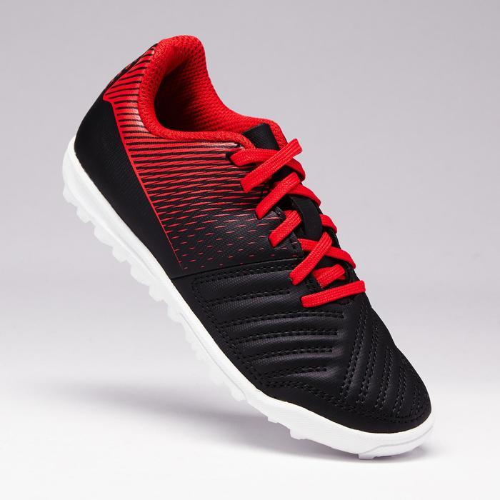 Botas de Fútbol Kipsta Agility 100 HG turf baby negro y rojo