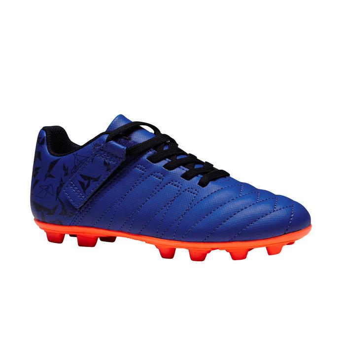 Chaussure de football enfant terrains secs Agility 300 FG à scratch bleue orange