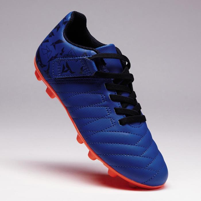 Chaussure de football enfant terrains secs Agility 300  FG à scratch bleue - 1352548