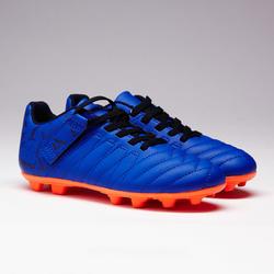 Chaussure de soccer autoagrip enfant terrain sec Agilité 140 FG bleue orange