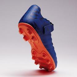 Voetbalschoenen met klittenband kind Agility 140 FG droog terrein blauw oranje