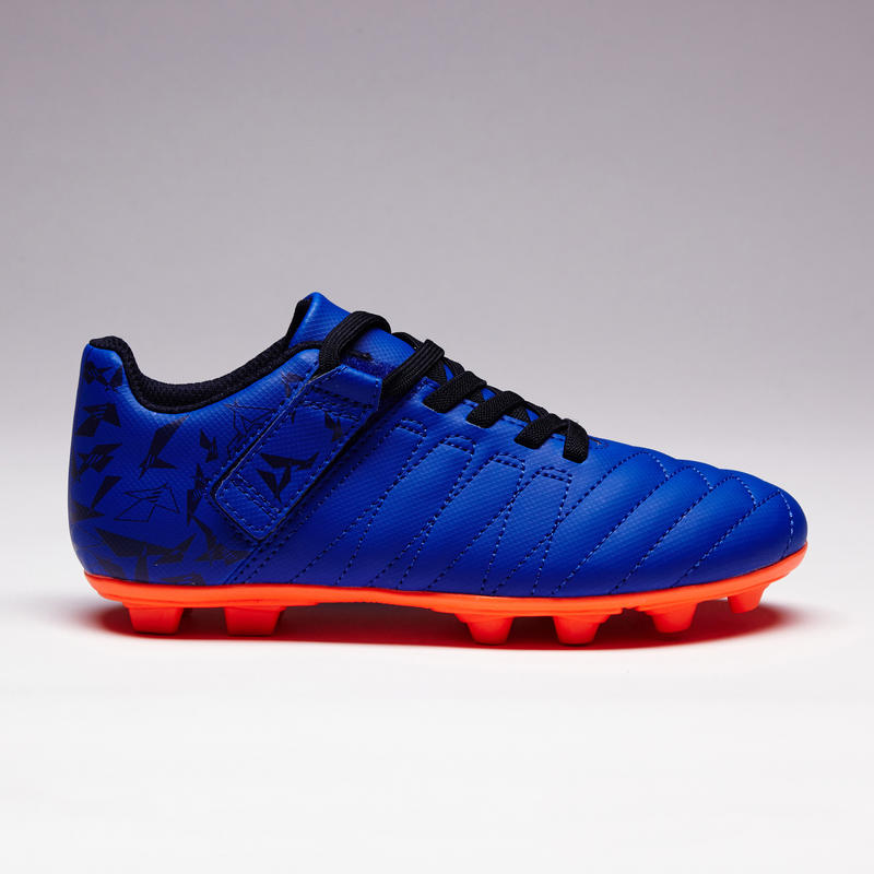 Zapatillas de fútbol tira autoa. niños terrenos secos Agility 300 FG azul naranj