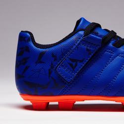 Chaussure de football à scratch enfant terrain sec Agility 140 FG bleue orange