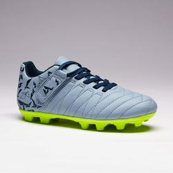 Voetbalschoenen kind Agility 140 FG met klittenband grijs
