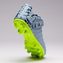 Voetbalschoenen met klittenband kind Agility 140 FG droog terrein grijs oranje