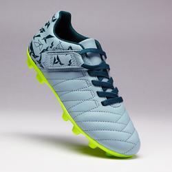 Chaussure de football à scratch enfant terrain sec Agility 140 FG grise jaune