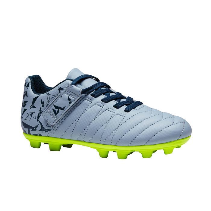 Chaussure de football enfant terrains secs Agility 300  FG à scratch bleue - 1352572