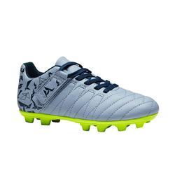 Voetbalschoenen met klittenband kind Agility 300 FG droog terrein grijs oranje