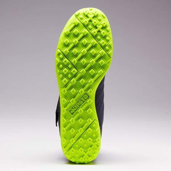 Chaussure de football à scratch enfant terrain dur Agility 140 HG gris foncé.