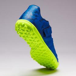 Voetbalschoenen met klittenband kinderen Agility 140 HG marineblauw hard terrein