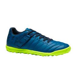 Chaussure de football enfant terrain dur Agility  300 HG à scratch bleue