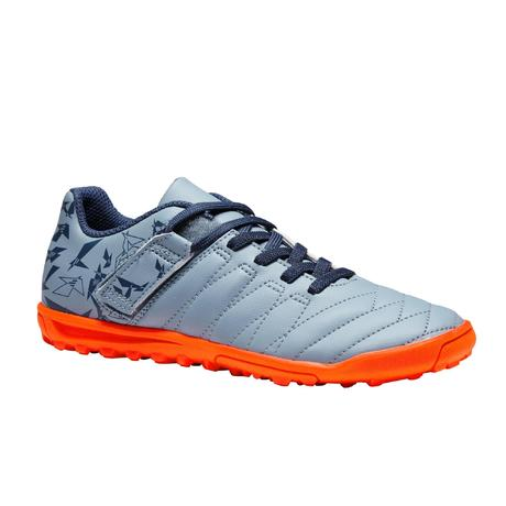 1653e073167ff1 Chaussure de football à scratch enfant terrain dur Agility 140 HG grise  orange | Kipsta by Decathlon
