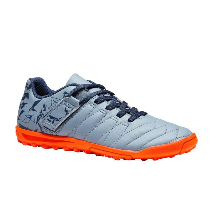 Chaussure de football à scratch enfant terrain dur Agility 140 HG grise orange