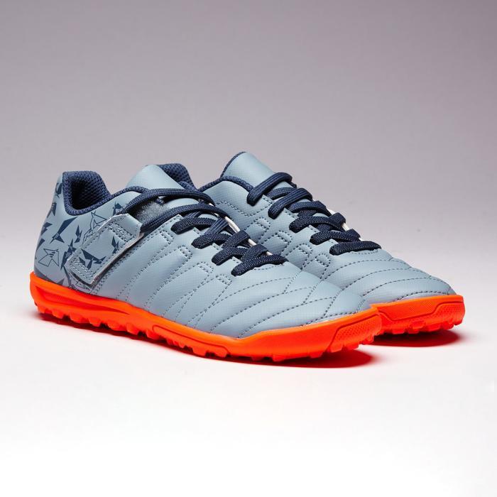 Chaussure de football à scratch enfant terrain dur Agility 140 HG grise orange