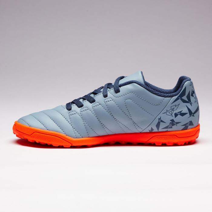 Voetbalschoenen met klittenband kind Agility 140 HG hard terrein grijs-oranje