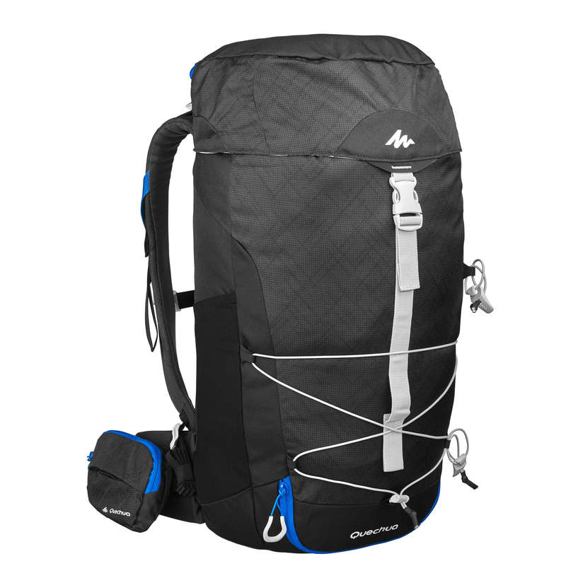 20L TO 40L MOUNTAIN HIKING BACKPACKS Hiking - MH100 30L Backpack - Black QUECHUA - Hiking Backpacks and Bags