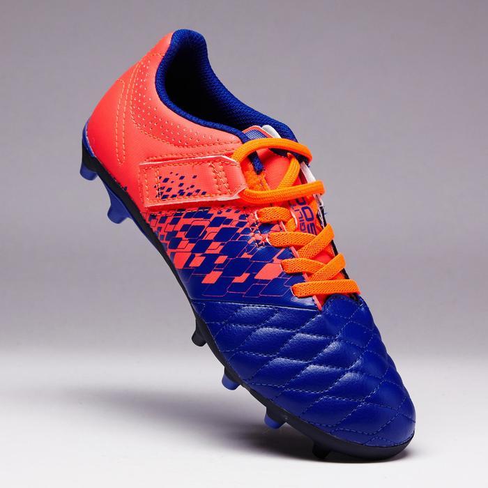 Voetbalschoenen kind Agility 500 FG klittenband blauw/oranje