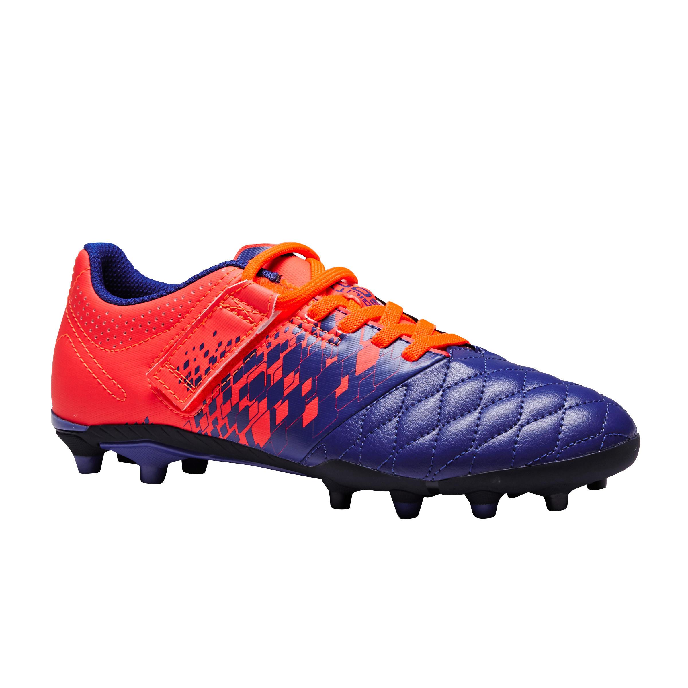 Kipsta Voetbalschoenen kind Agility 500 FG klittenband paars/oranje