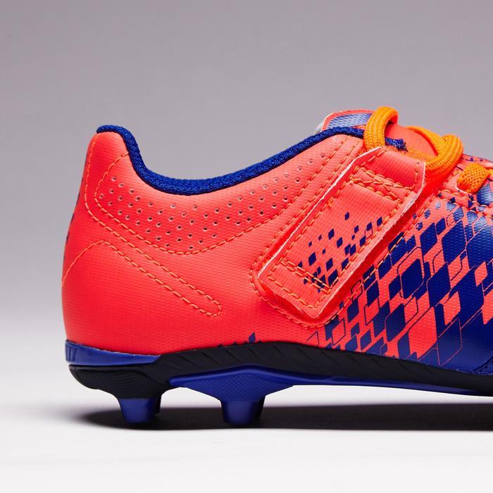 Botas de fútbol júnior terrenos secos Agility 500 FG azul naranja