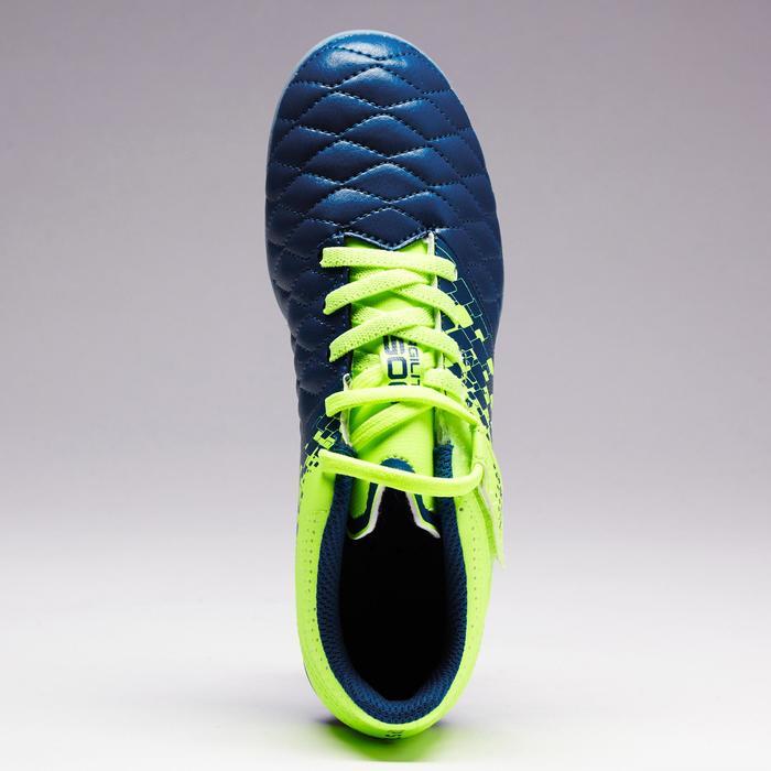 Botas de fútbol júnior terrenos secos Agility 500 FG azul amarillo