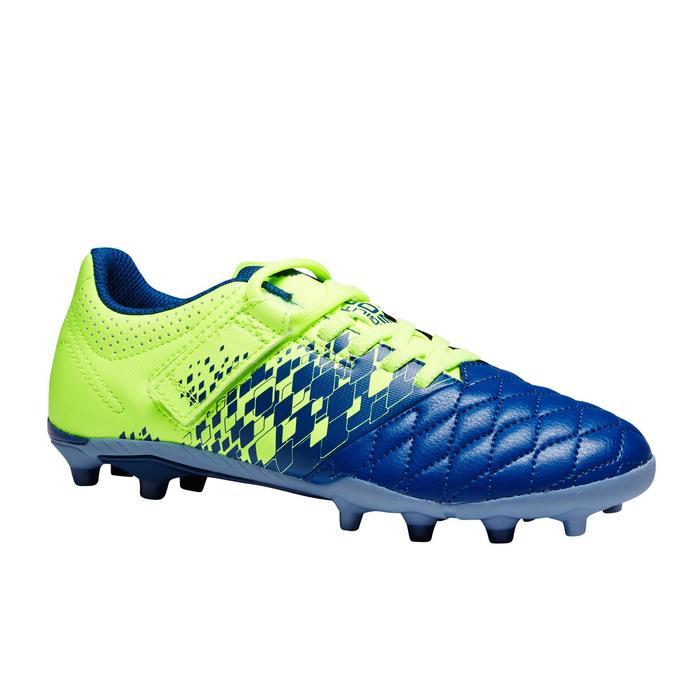 Chaussure de football enfant terrain sec Agility 500 FG bleue jaune