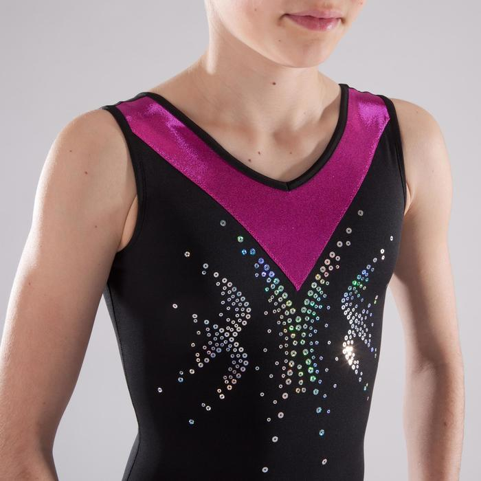 Justaucorps sans manches gym fille (GAF et GR) noir/rose sequins