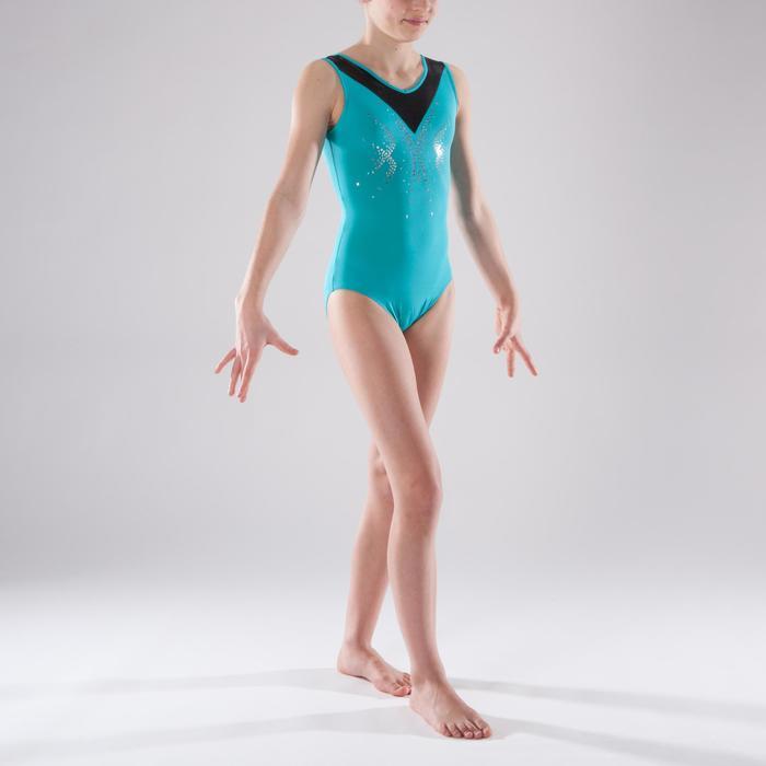 Justaucorps sans manches gym fille (GAF et GR) turquoise sequins