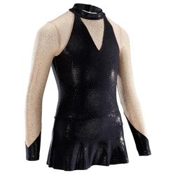 Gymnastikanzug Turnanzug langarm Röckchen Pailletten schwarz