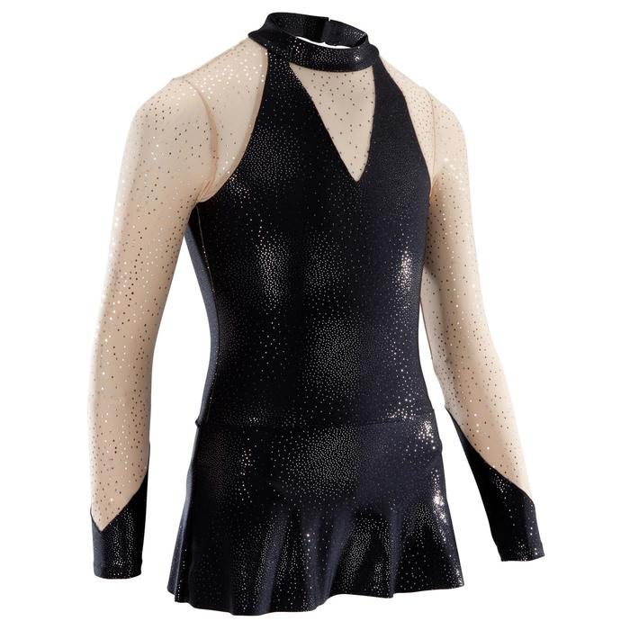 Turnpakje met lange mouwen en rokje voor ritmische gymnastiek zwart lovertjes
