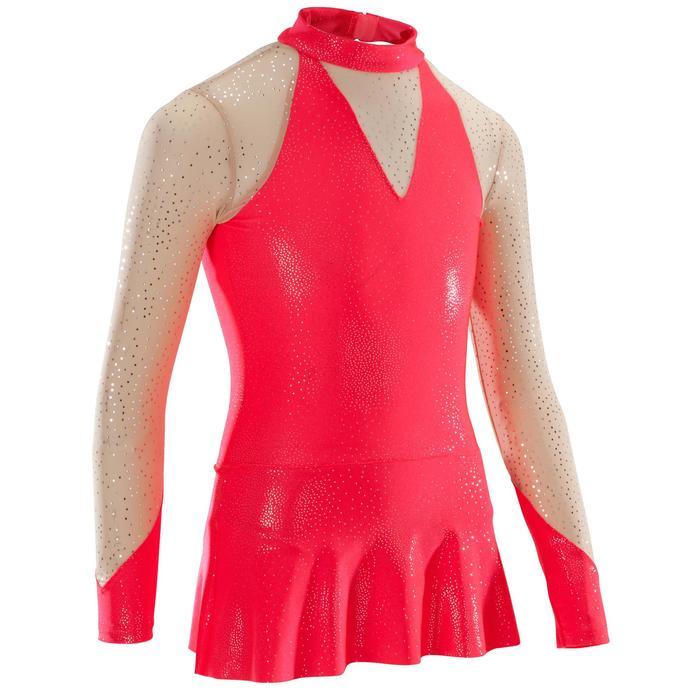 Turnpakje met lange mouwen en rokje voor ritmische gymnastiek koraal lovertjes