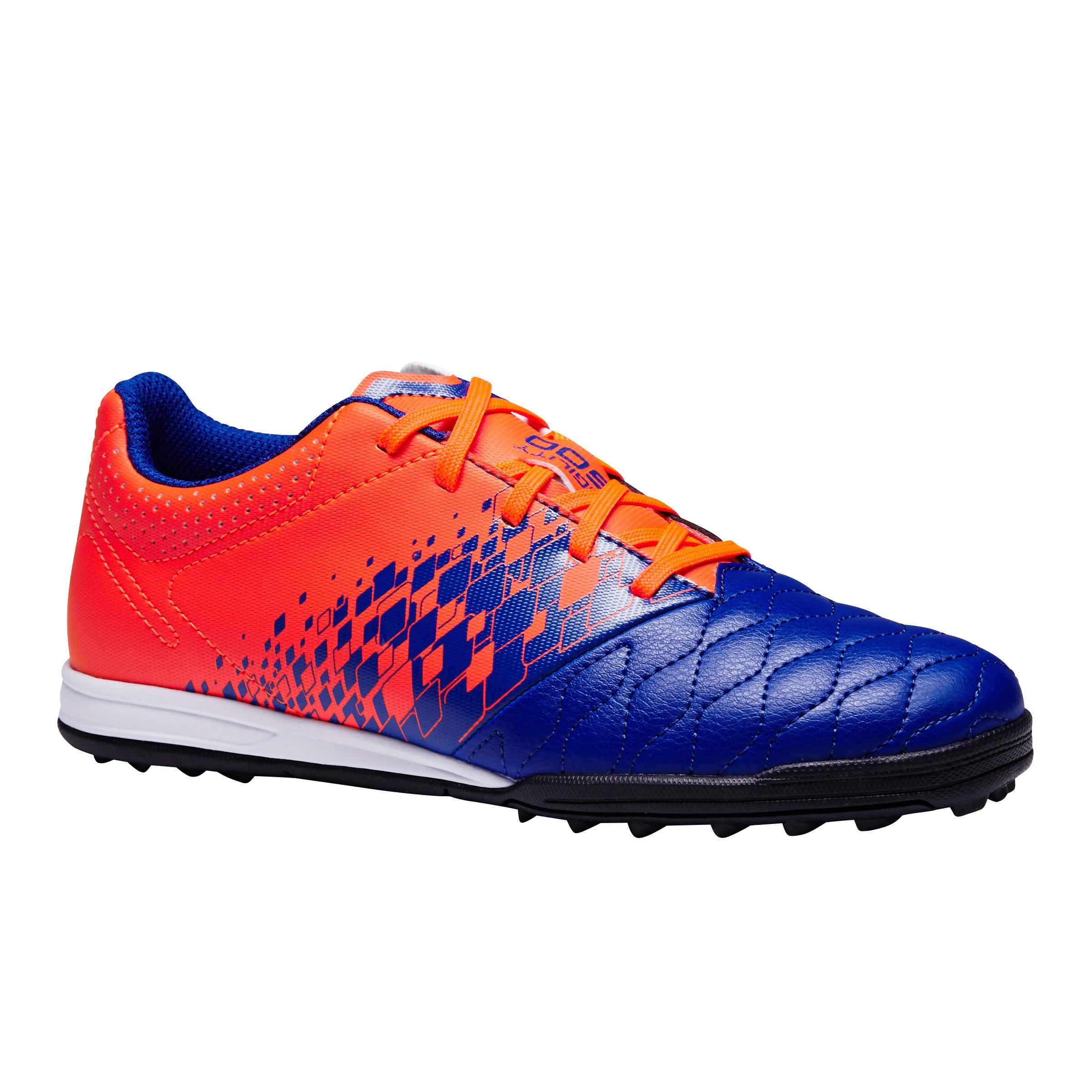 Chaussure de soccer enfant terrain dur Agilité 500 HG bleue orange