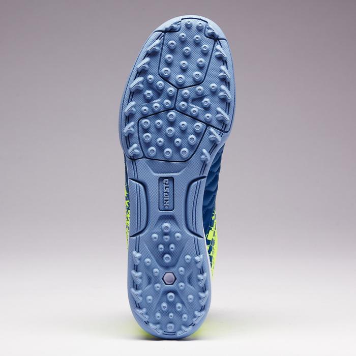 Botas de fútbol júnior terrenos duros Agility 500 HG azul amarillo