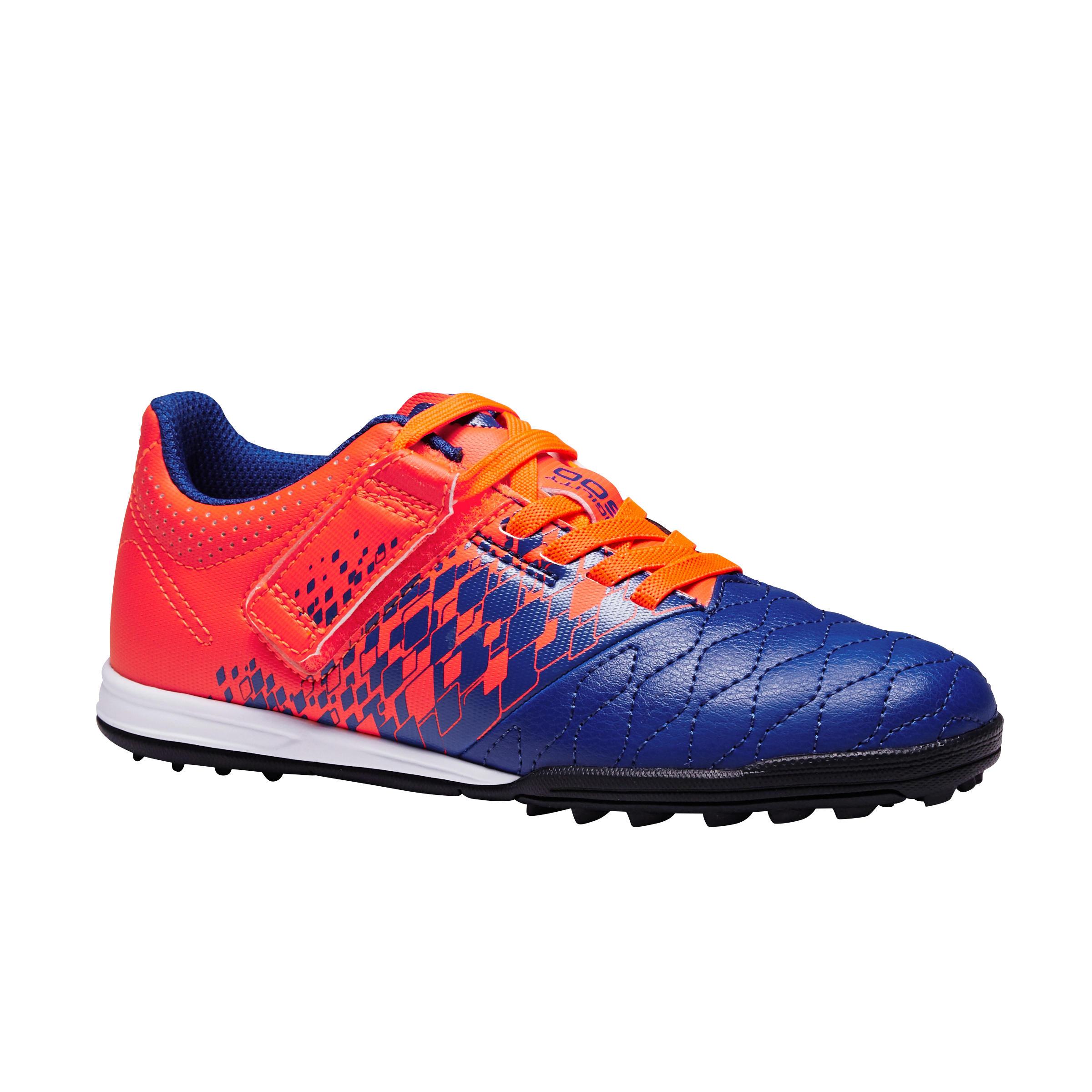 Agility 500 HG Kids' Hard Pitch Hook & Loop Soccer Shoes - Blue/Orange
