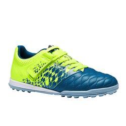 Chaussure de football enfant terrain dur Agility 500 HG scratch bleu jaune