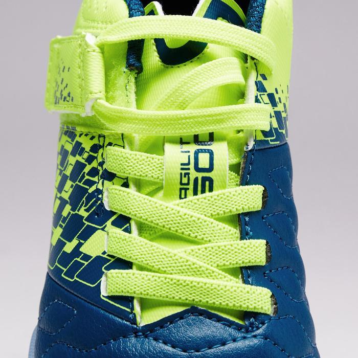 Fußballschuhe Agility 500 HG Hartboden Klettverschluss Kinder blau/gelb