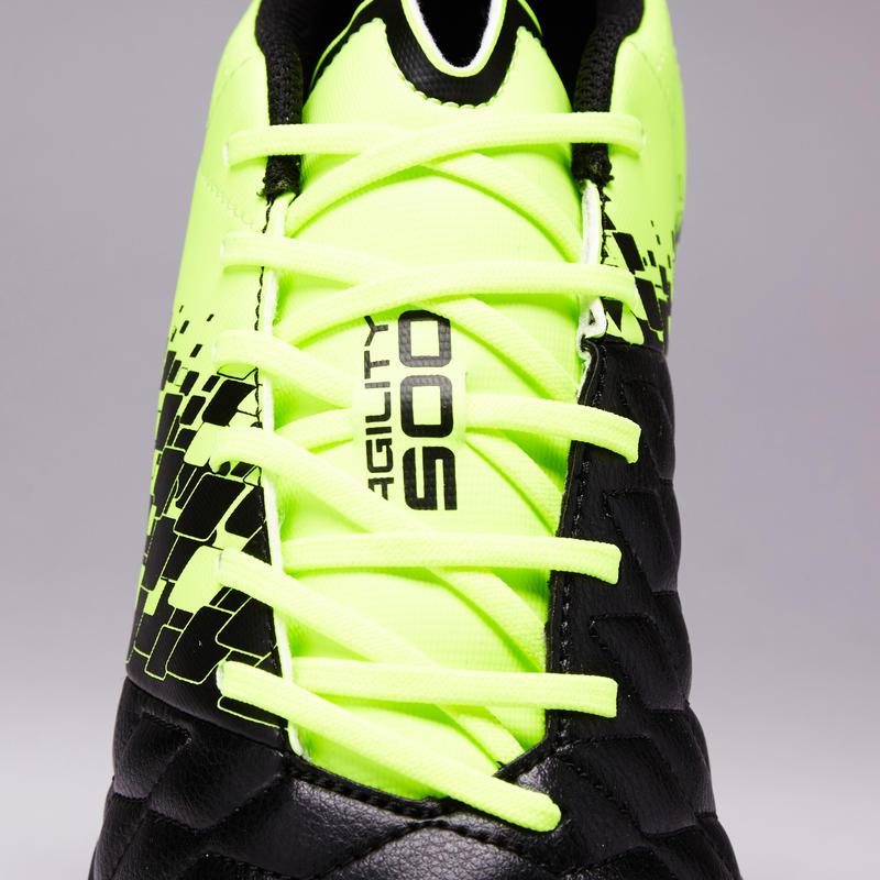 Zapatillas de fútbol adulto terrenos duros Agility 500 HG negras y amarillas